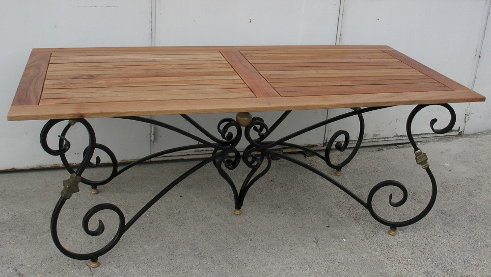 Picture of: Compact Wrought Iron Coffee Table