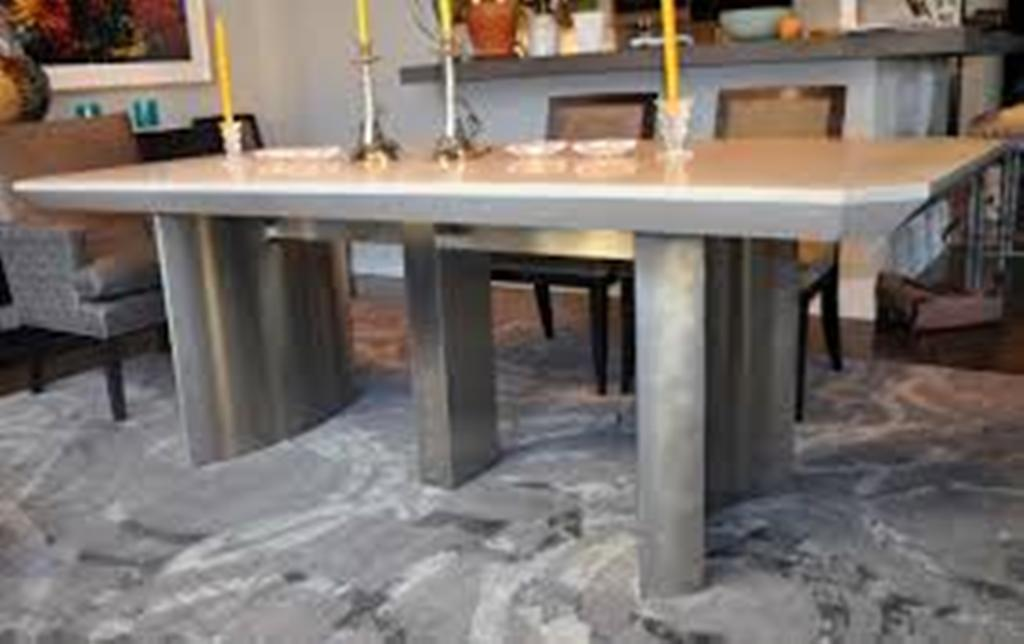Picture of: Concrete Top Dining Table Centerpiece