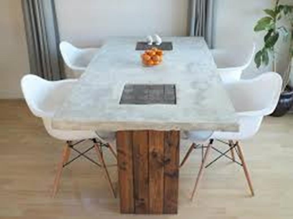 Image of: Concrete Top Dining Table Decor