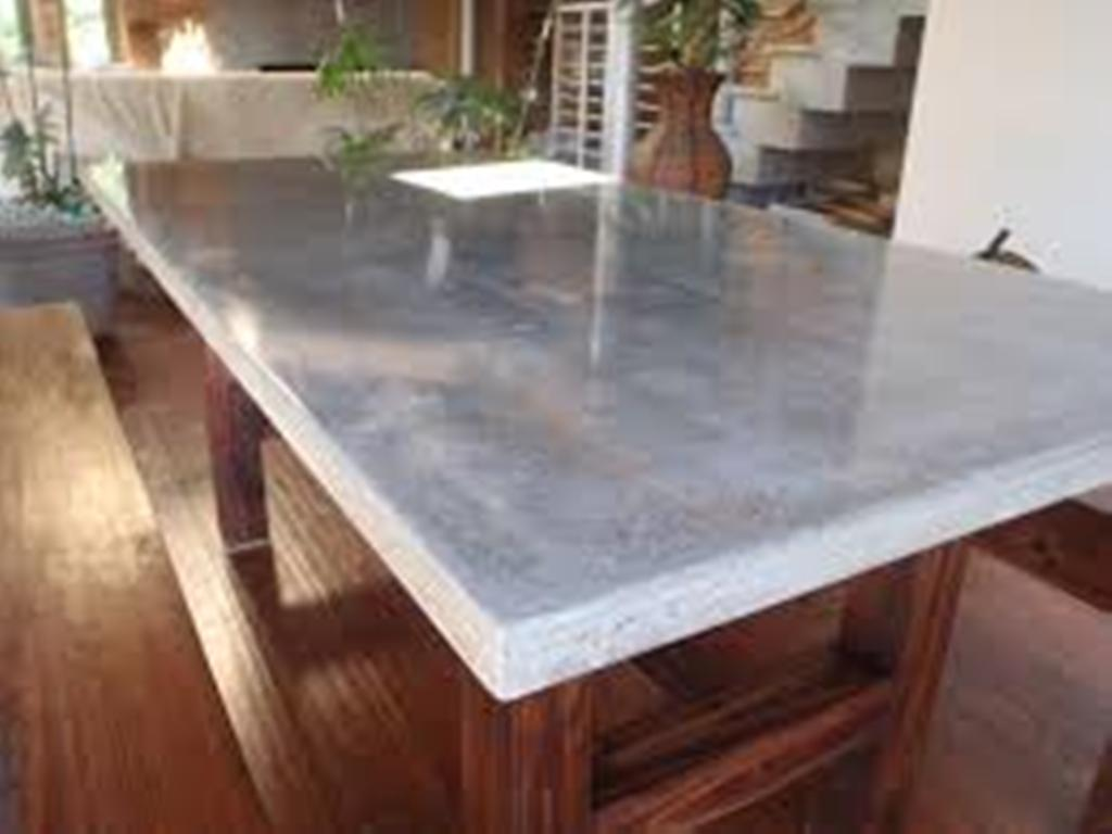 Image of: Concrete Top Dining Table Decoration