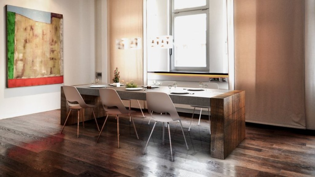 Image of: Concrete Top Dining Table and Chairs
