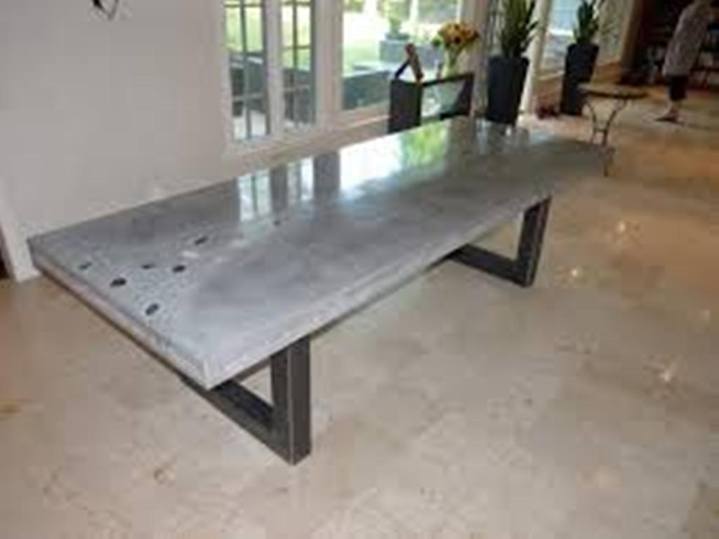Picture of: Concrete Top Dining Table with Bench