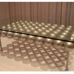 Contemporary Brass Glass Coffee Table