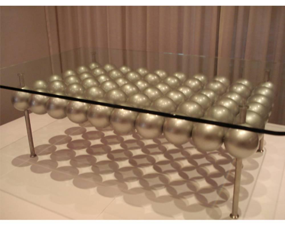 Picture of: Contemporary Brass Glass Coffee Table