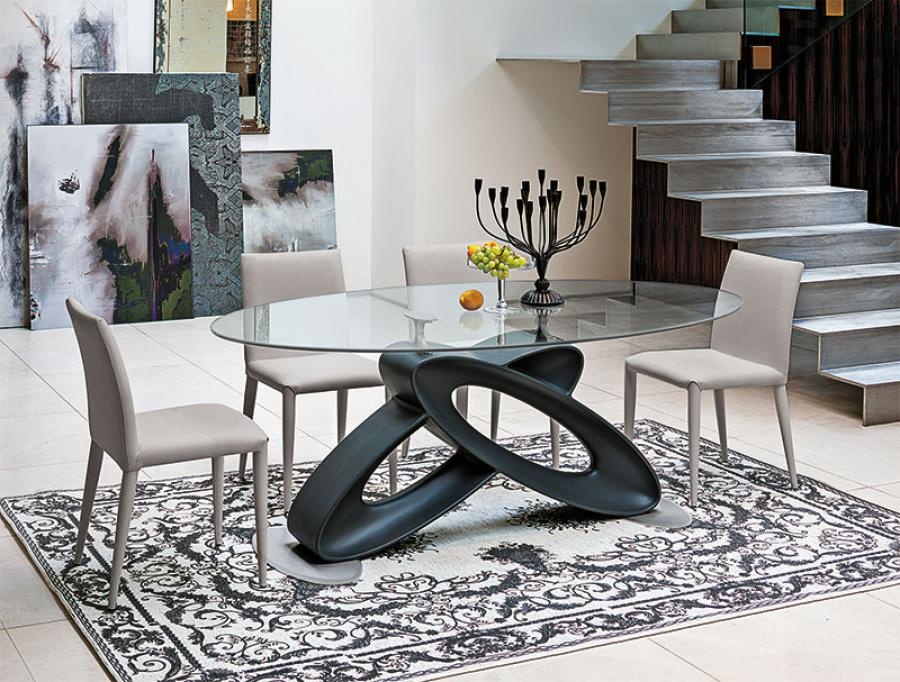 Picture of: Contemporary Oval Glass Dining Table
