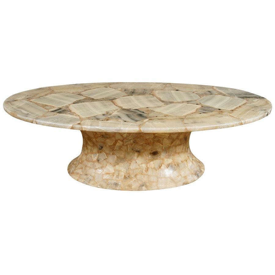 Contemporary Oval Marble Coffee Table