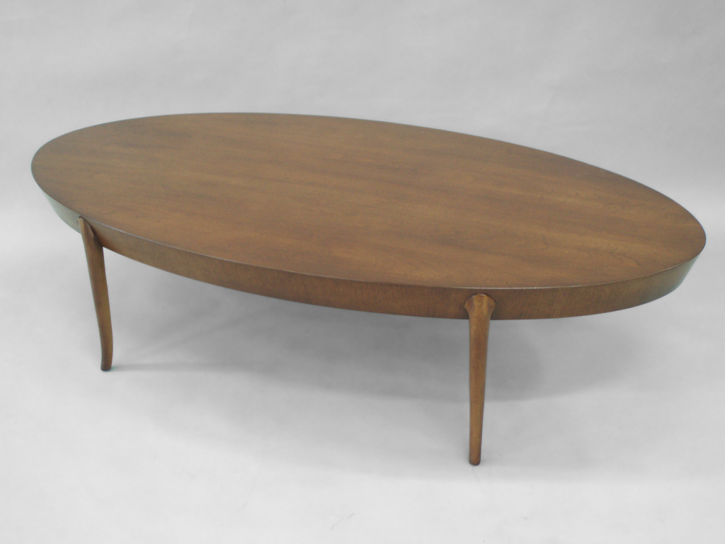 Contemporary Oval Wood Coffee Table