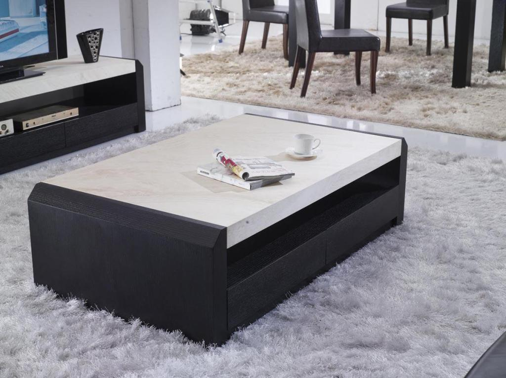Image of: Contemporary White Marble Coffee Table