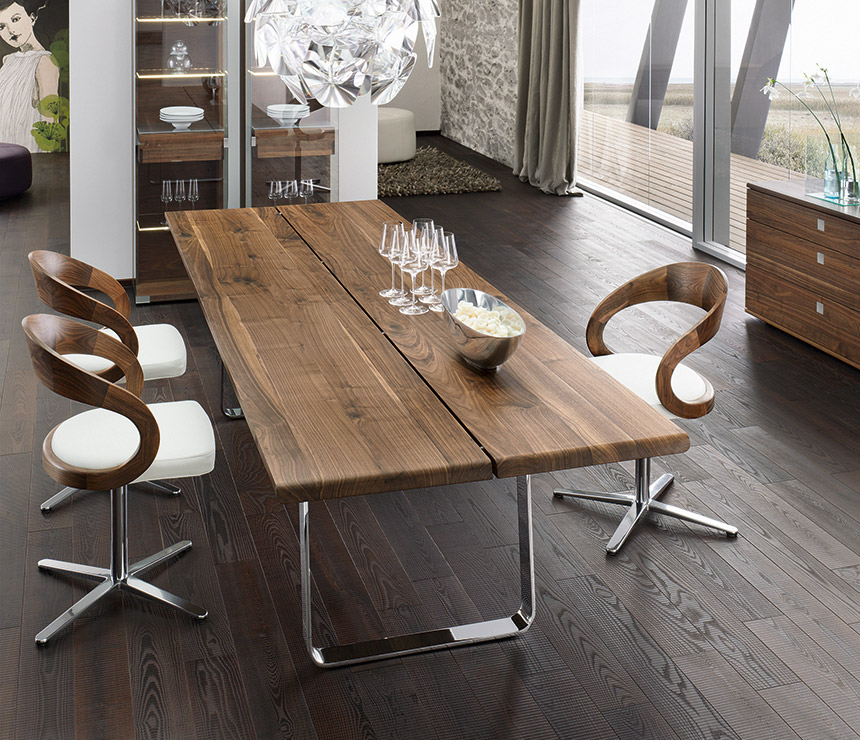 Picture of: contemporary wood and metal dining table