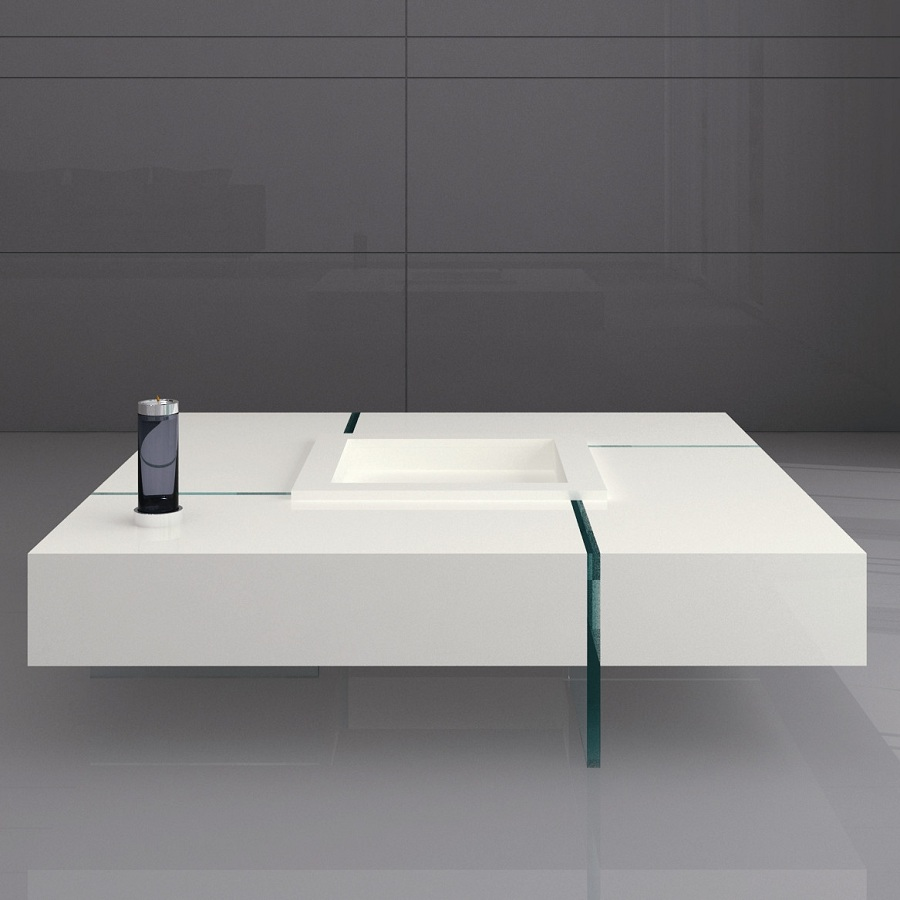 Image of: Creative White Lacquer Coffee Table