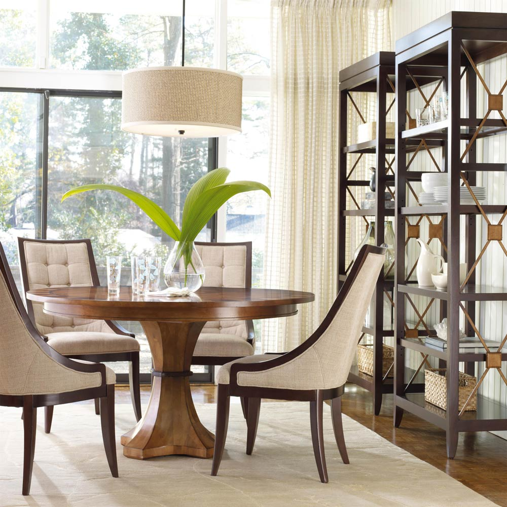 Image of: Dark Brown Pedestal Dining Room Table