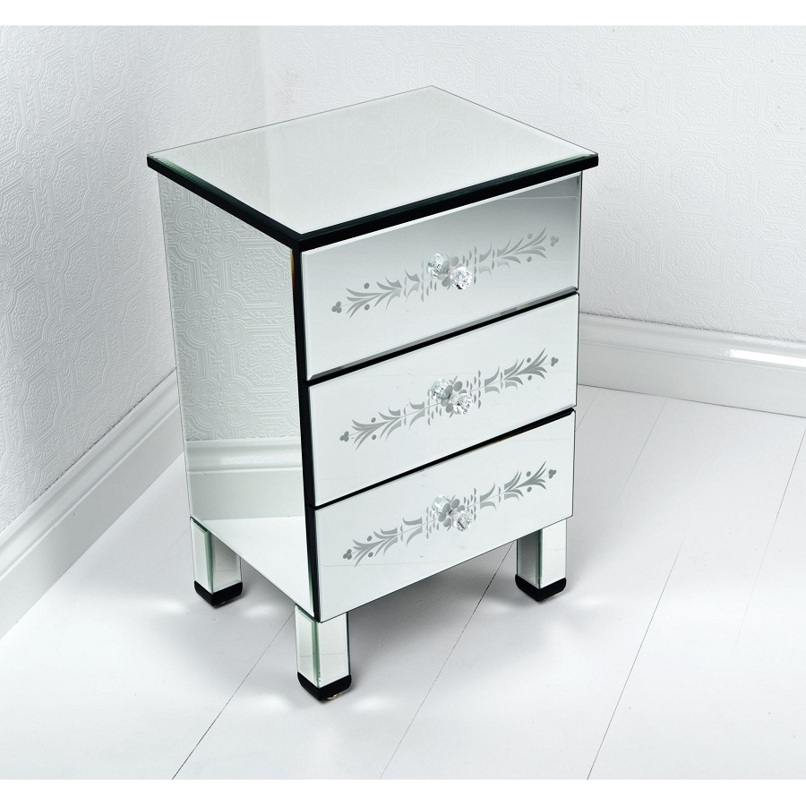 Image of: Decorative Glass Bedside Table