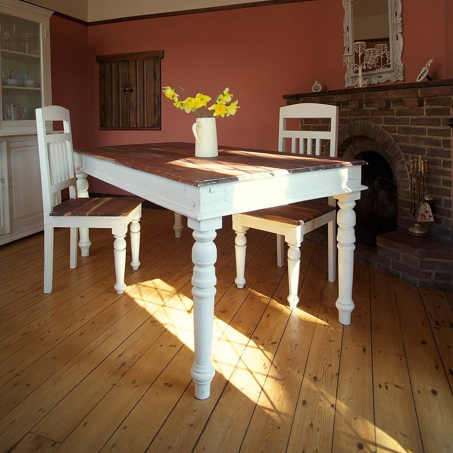 Picture of: Distressed Dining Room Table Color