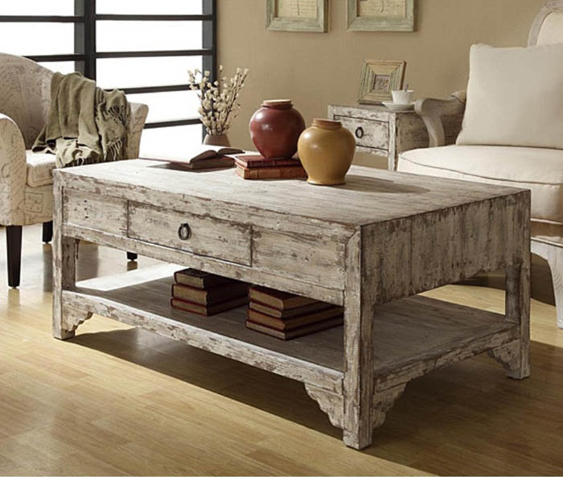 Picture of: Distressed Wood Coffee Table Images
