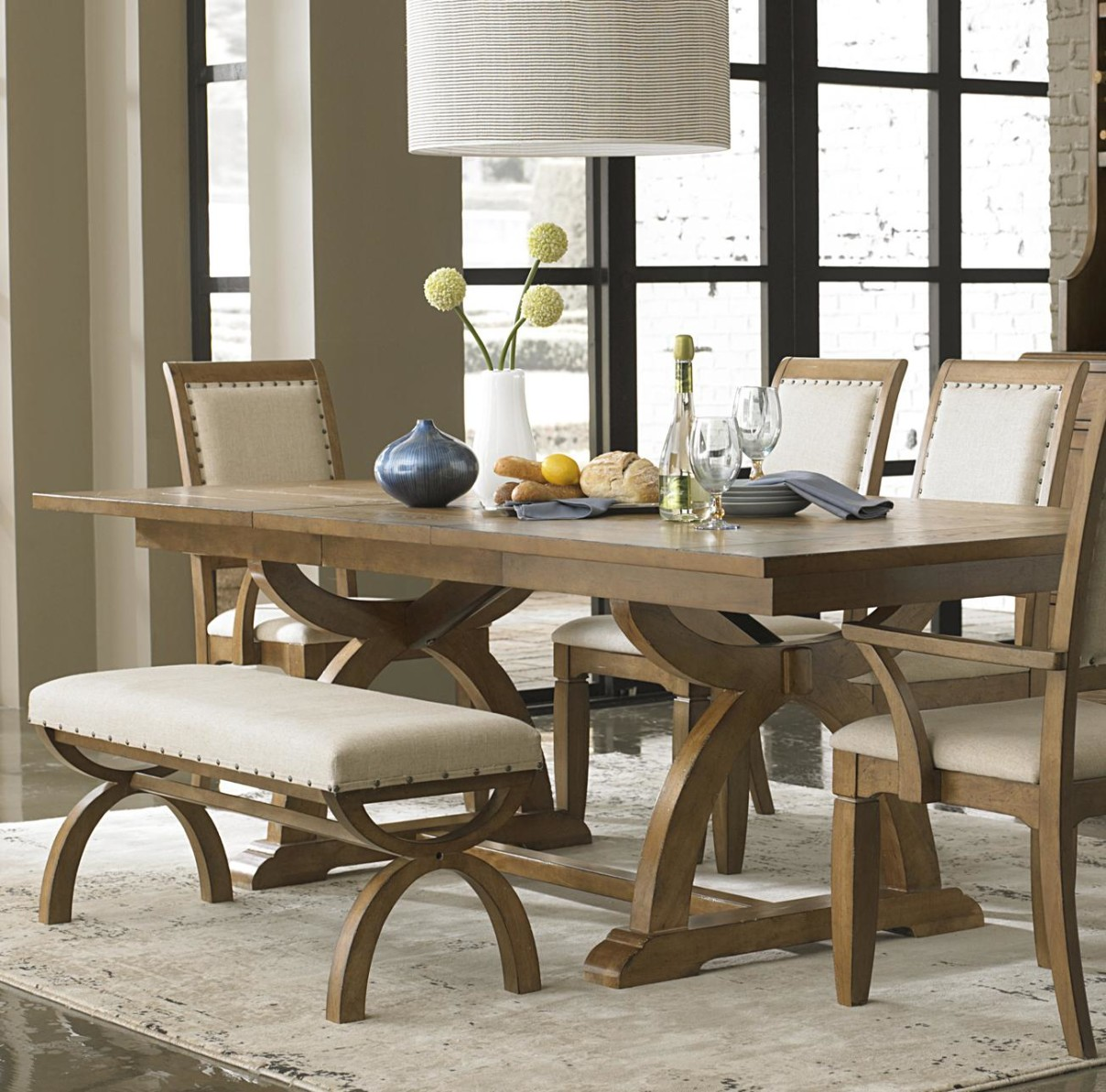 Image of: Distressed Wood Dining Room Table Color