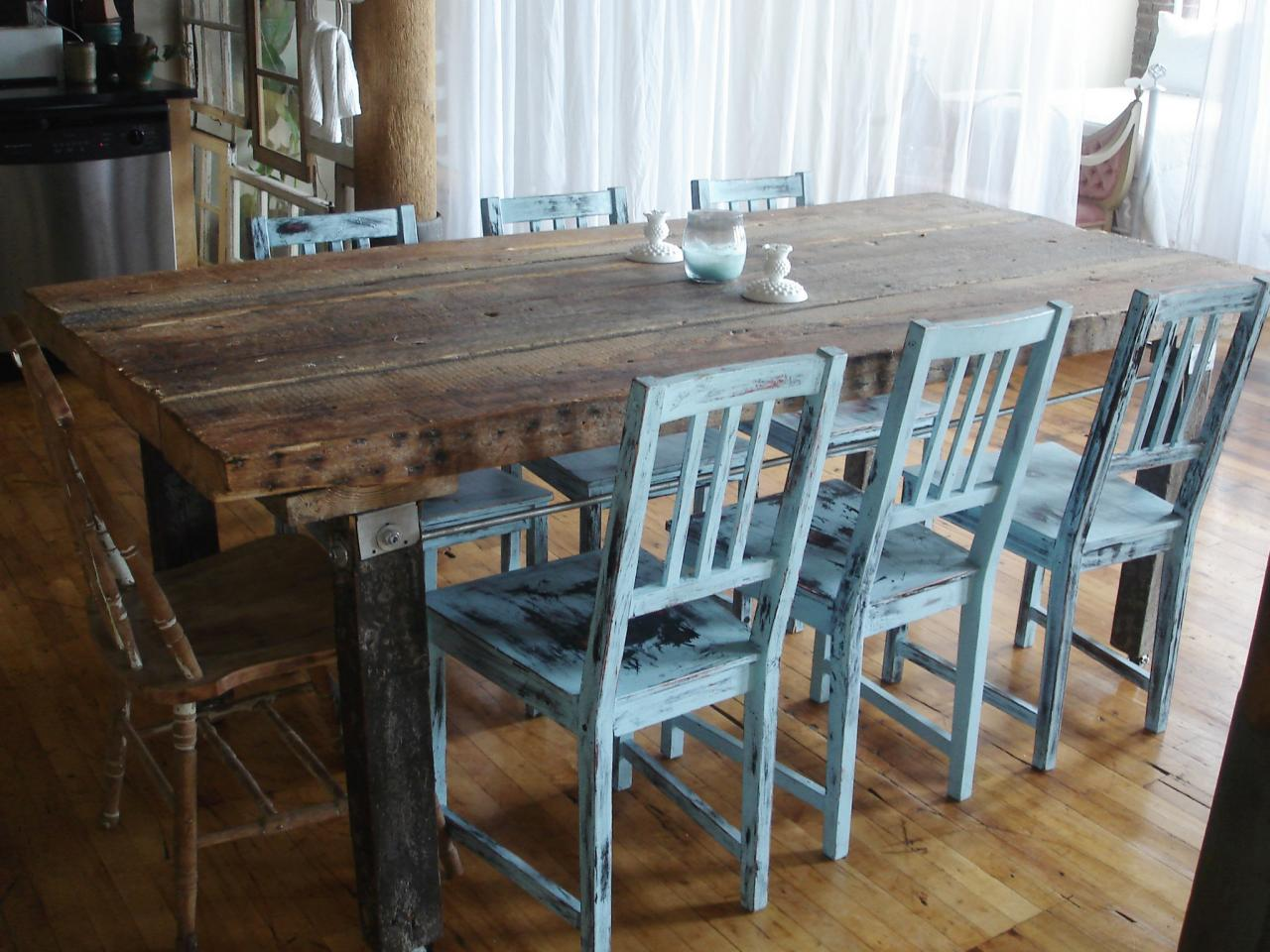 Image of: Distressed Wood Dining Room Table Furniture