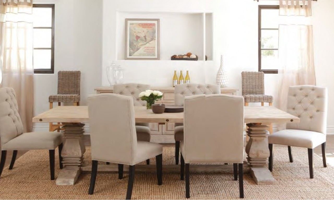 Image of: Distressed Wood Dining Room Table Modern