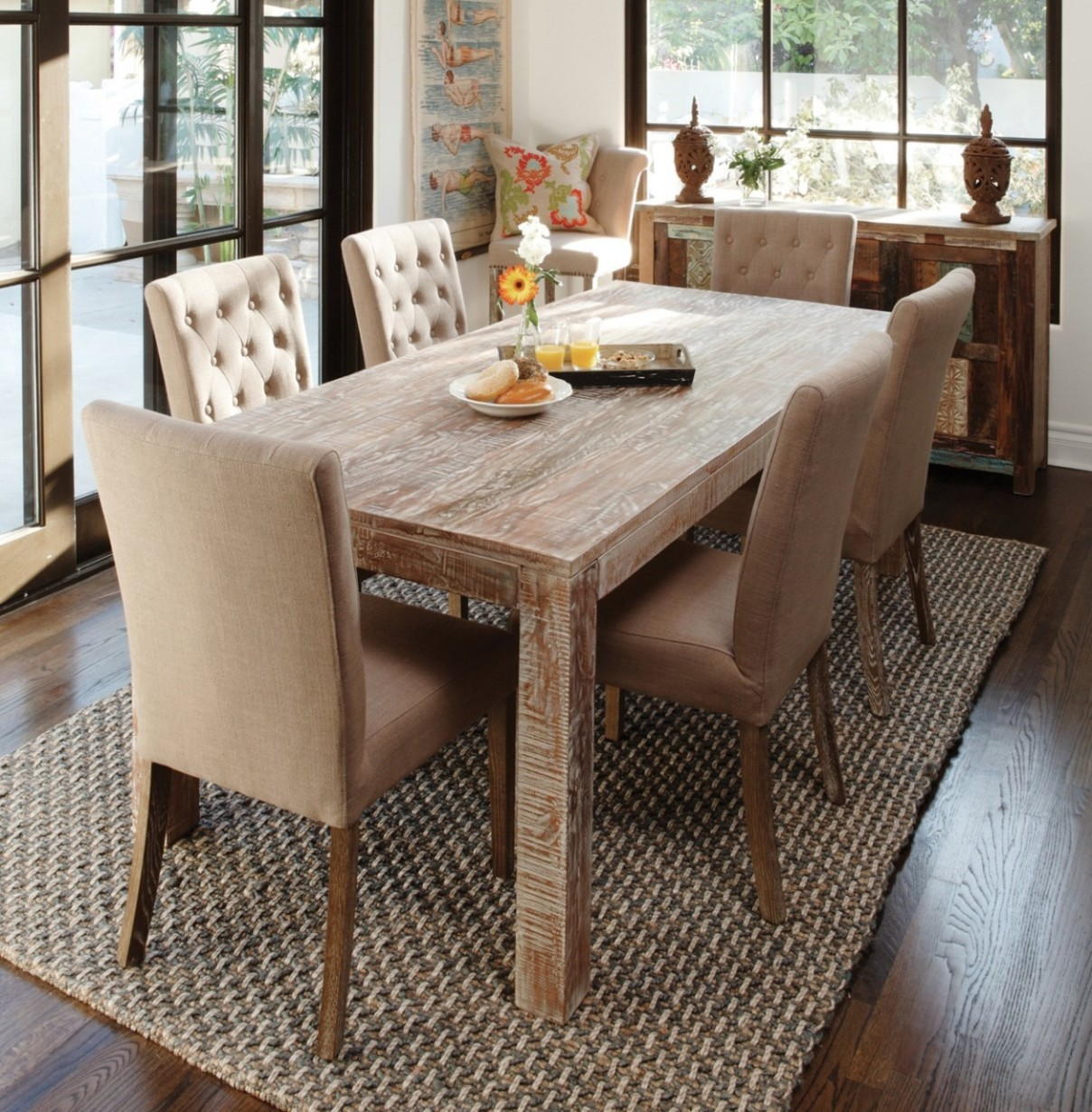 Image of: Distressed Wood Dining Room Table Vintage