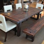 Distressed Wood Dining Room Table And Bench