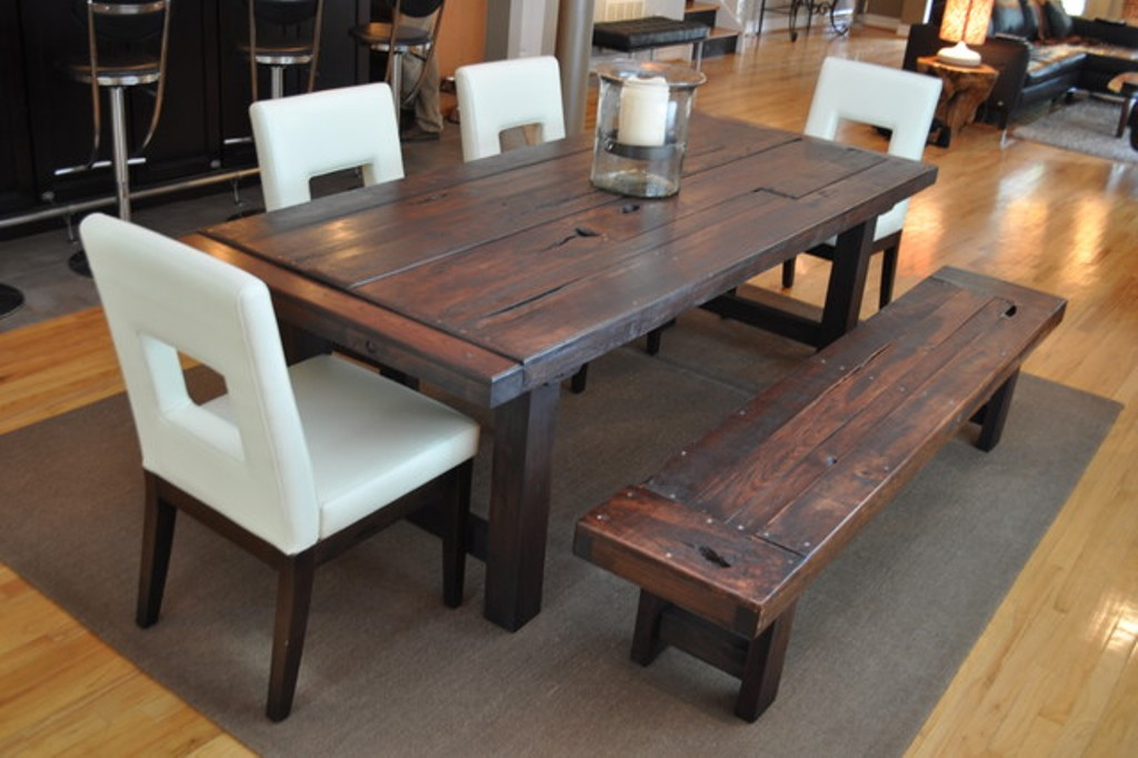 Image of: Distressed Wood Dining Room Table and Bench