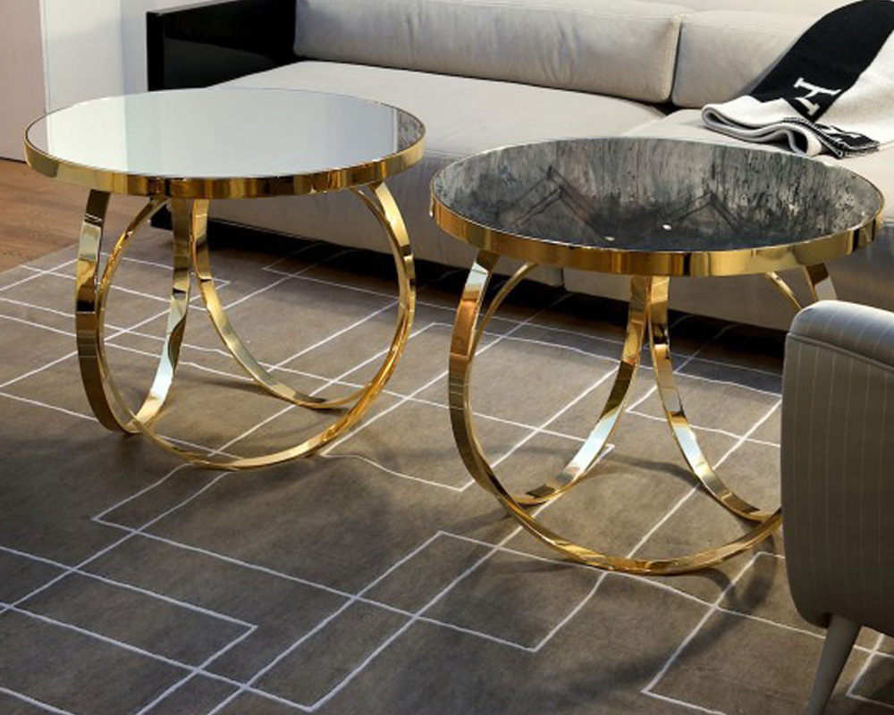 Image of: Double Brass Glass Coffee Table