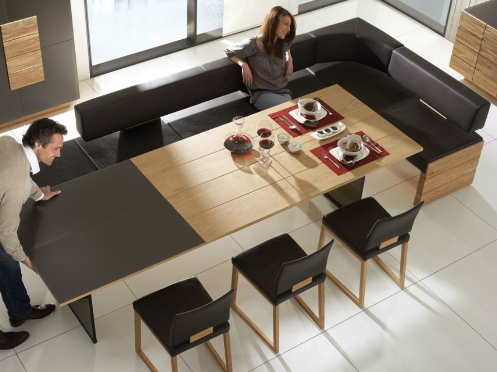 Image of: Expandable Dining Table Bench Seating