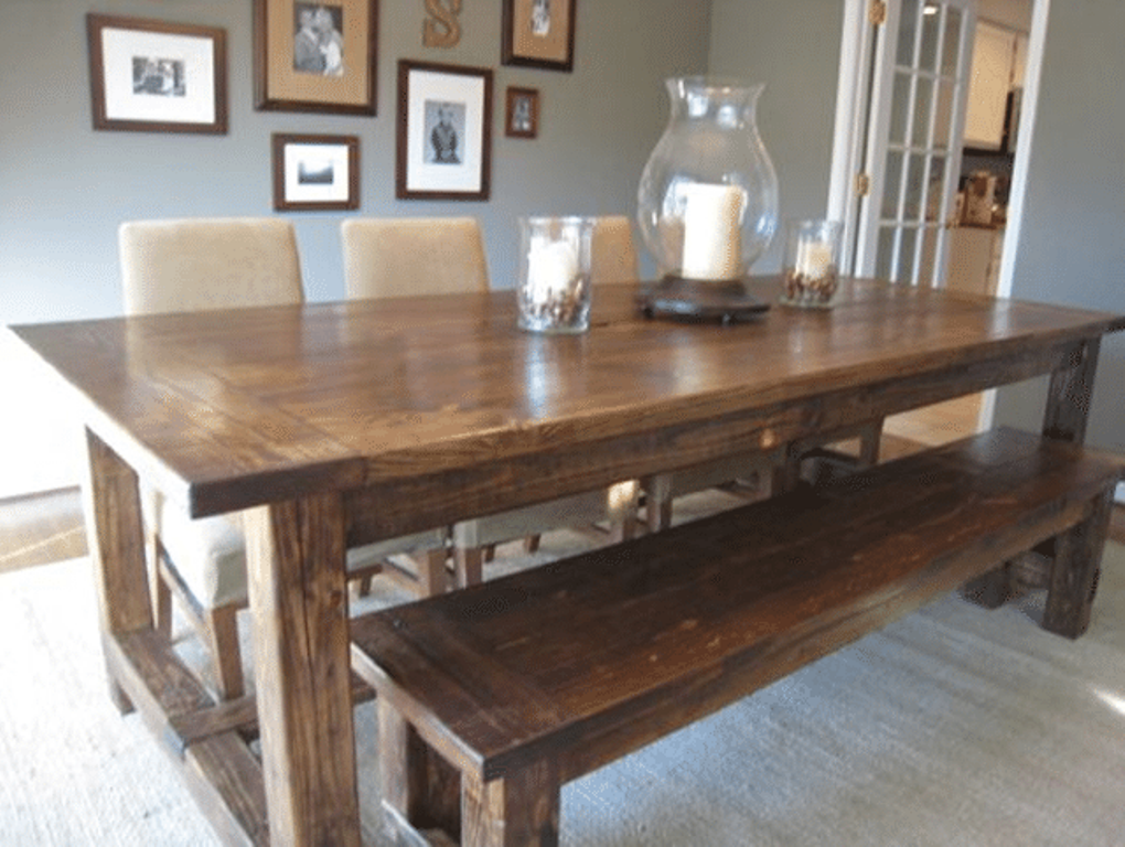 Picture of: Farmhouse dining room table plans Bench Ideas