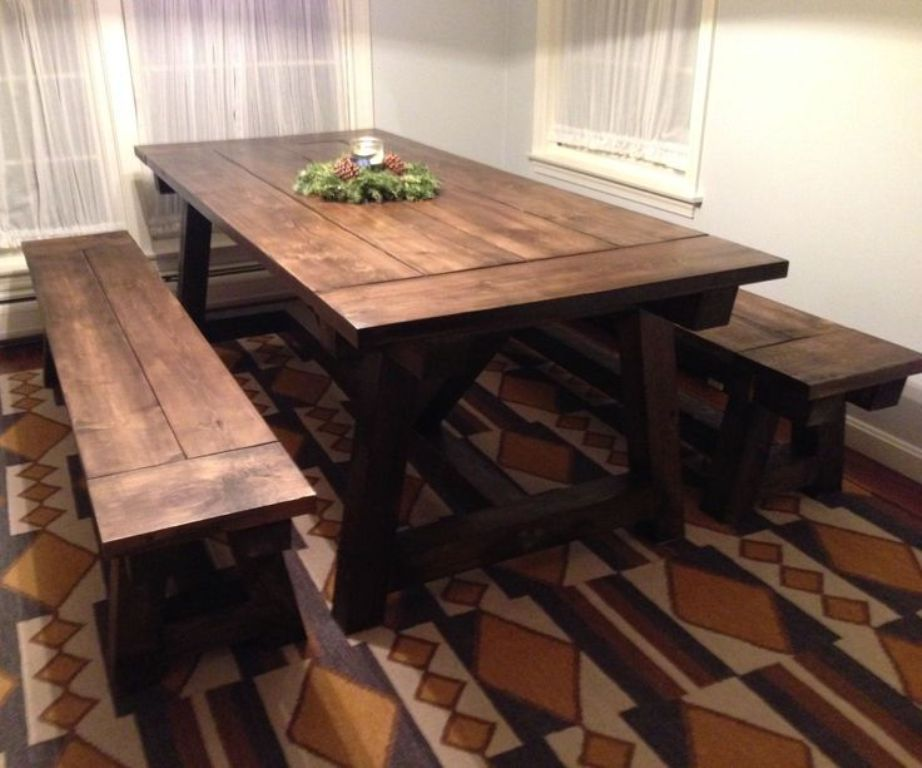 Picture of: Farmhouse dining room table plans DIY