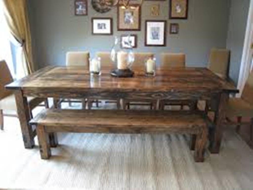 Picture of: Farmhouse dining room table plans with Bench