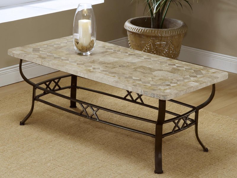 Image of: Faux White Marble Coffee Table