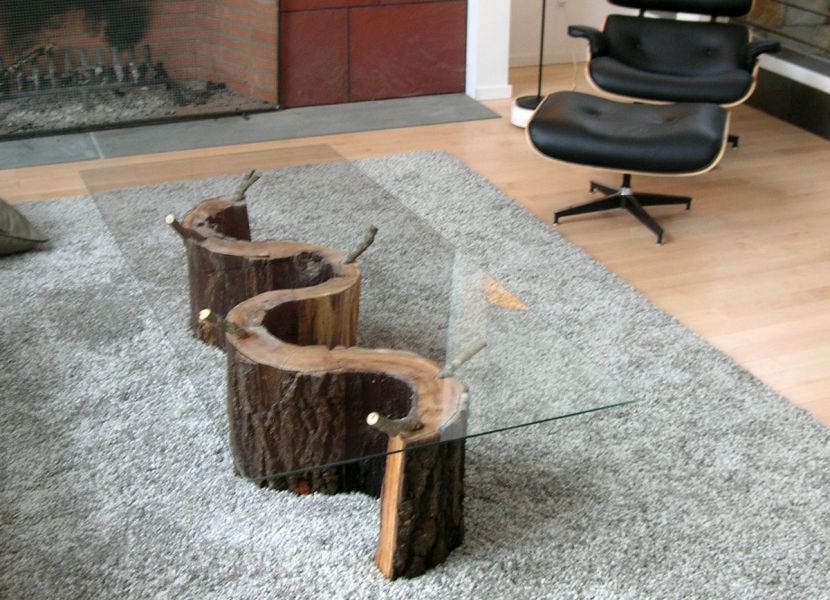 Picture of: Faux Wood Stump Coffee Table