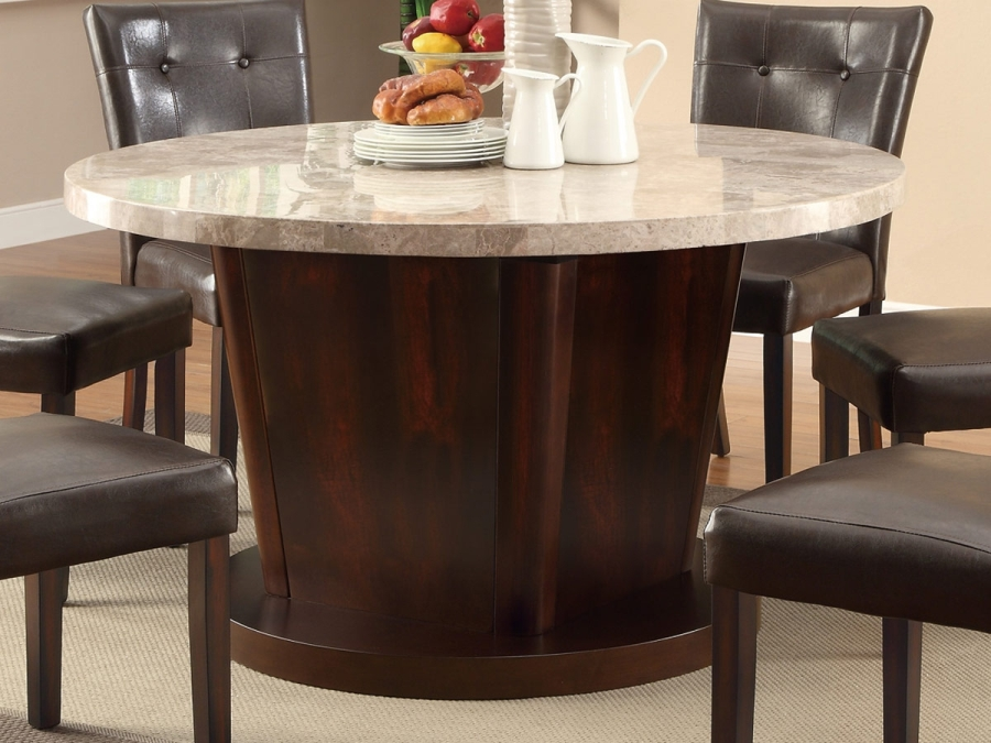 Image of: Faux marble top round dining table