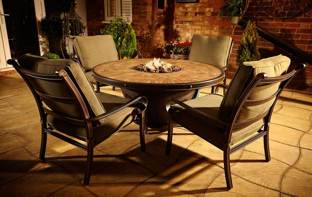 Fire Pit Dining Table Set With Bench