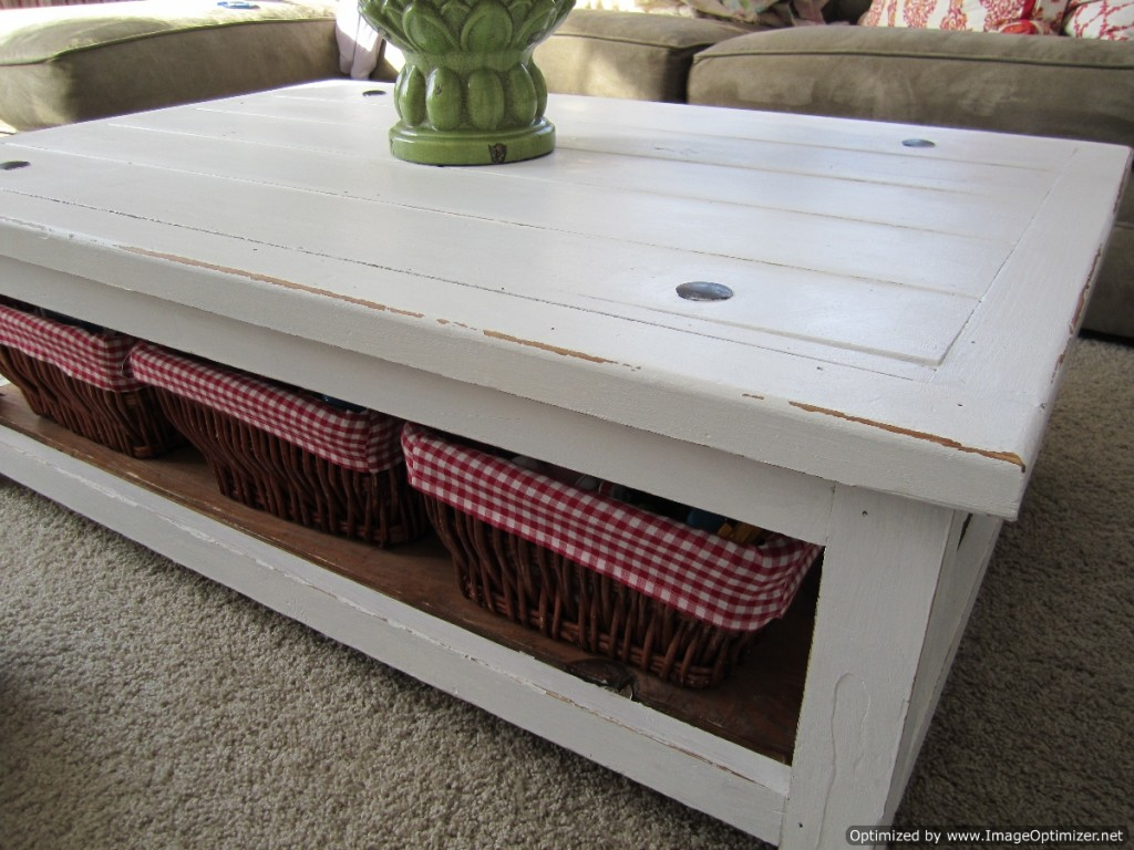 Image of: Furniture Distressed White Coffee Table
