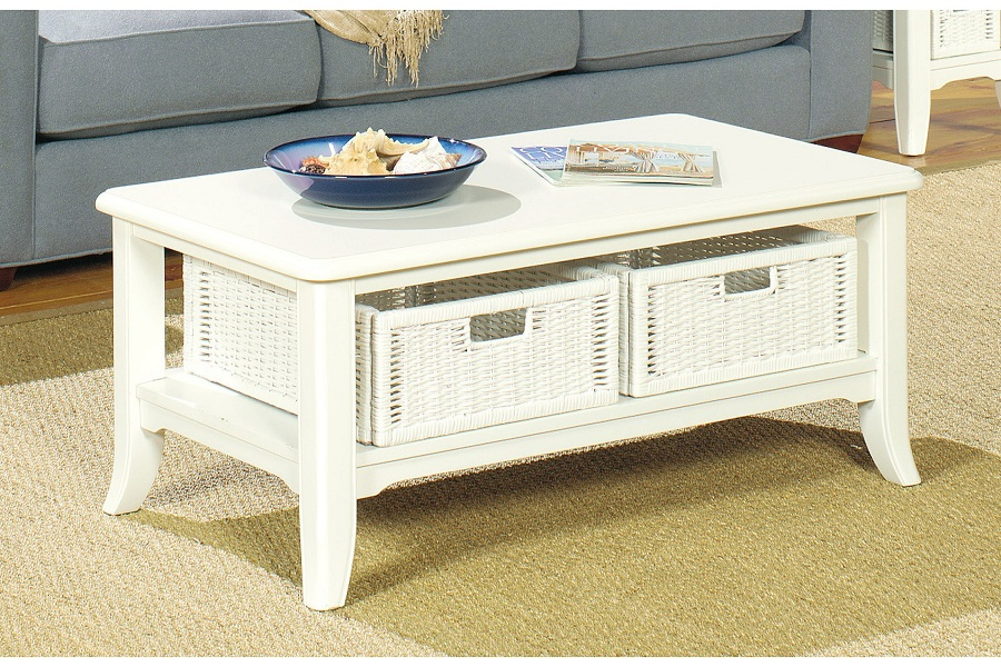 Image of: Gallery Distressed White Coffee Table