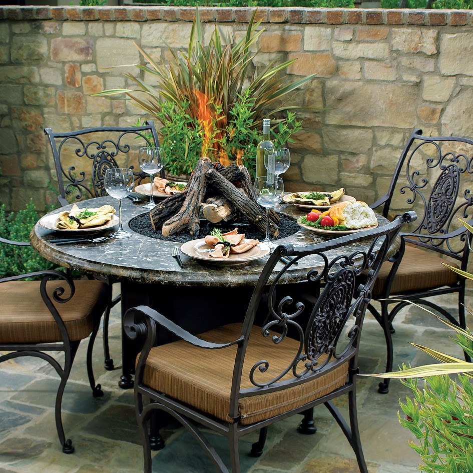 Image of: Garden Wood Burning Fire Pit Table