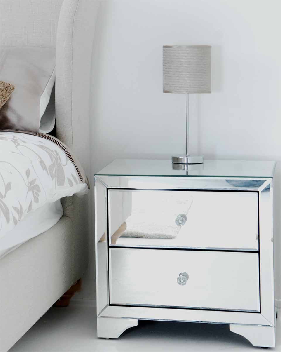 Image of: Glass Bedside Table Bedroom