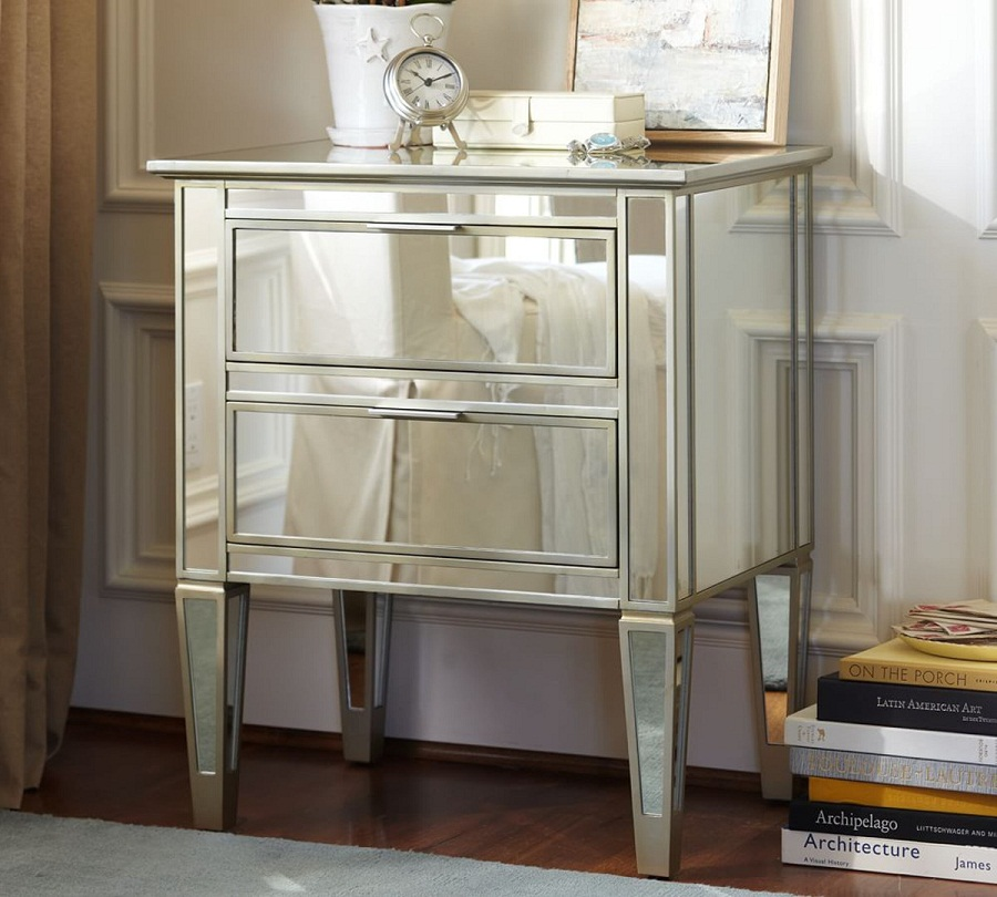 Image of: Glass Bedside Table Drawers