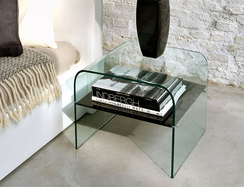 Image of: Glass Bedside Table Modern