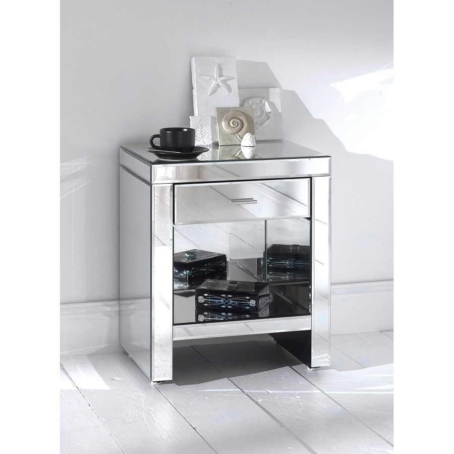 Image of: Glass Bedside Table Storage