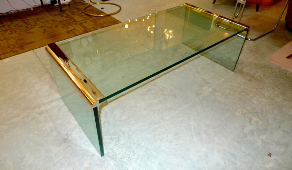 Picture of: Glass Waterfall Coffee Table Ottoman