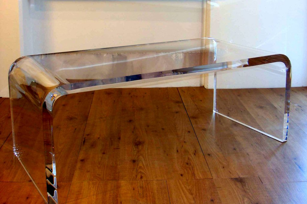 Glass Waterfall Coffee Table Rectangular