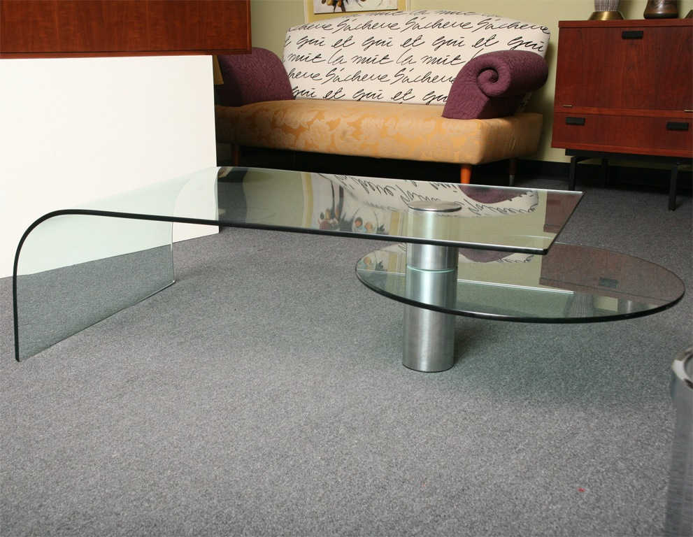 Glass Waterfall Coffee Table With Storage