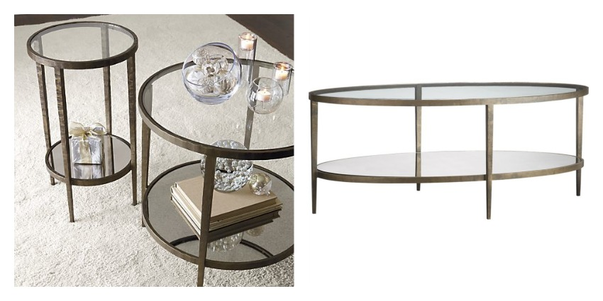 Image of: Glass and Brass Coffee Table Round