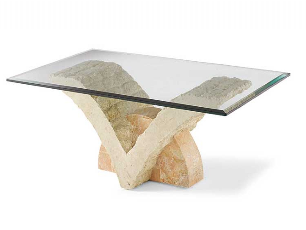 Glass and Stone Coffee Table
