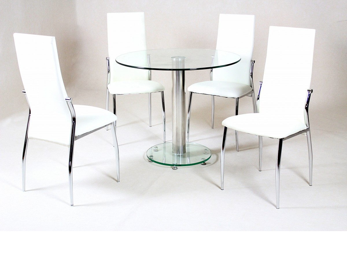 Image of: Glass table and chairs for kitchen