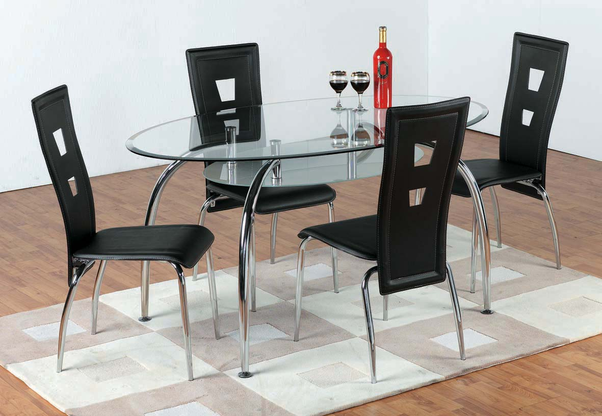 Image of: Glass table and chairs set