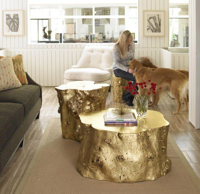 Picture of: Gold Painted of Tree Stump Coffee Table
