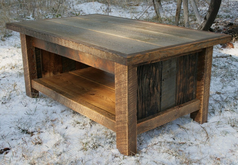 Image of: Good Distressed Wood Coffee Table