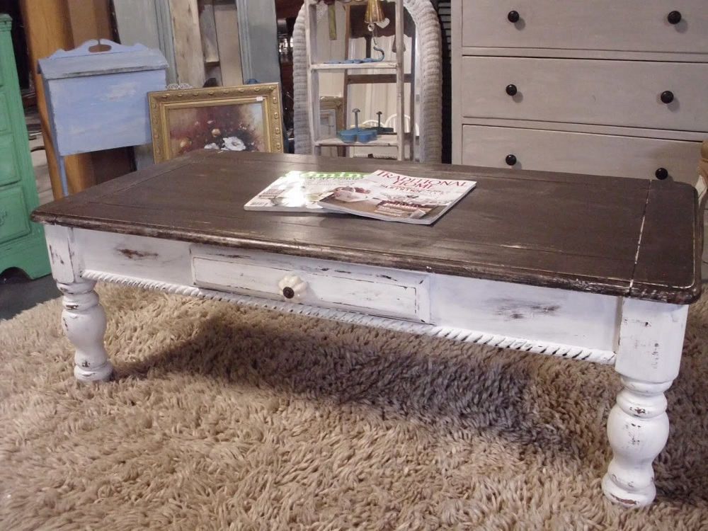 Image of: Ideas Distressed White Coffee Table